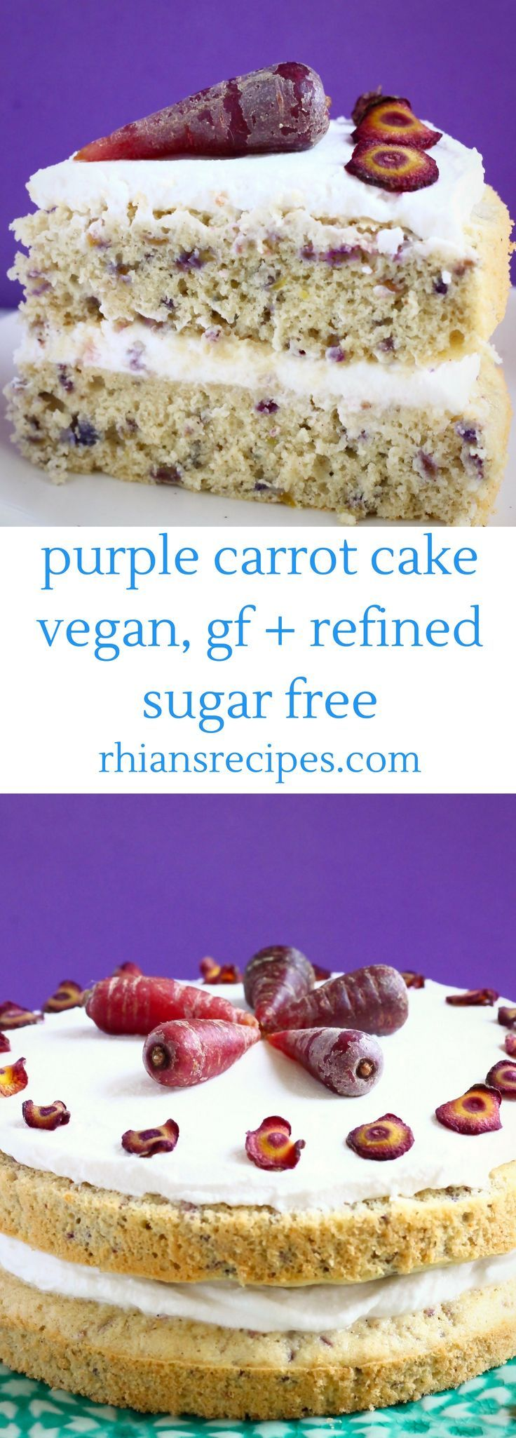This Gluten-Free Vegan Purple Carrot Cake is pretty and colourful, naturally sweetened and slathered in a delicious cream cheese frosting! Refined sugar free.