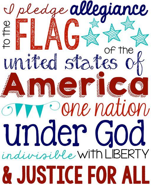 Pledge of Allegiance Printable at GingerSnapCrafts.com #usa #printable #patriotic