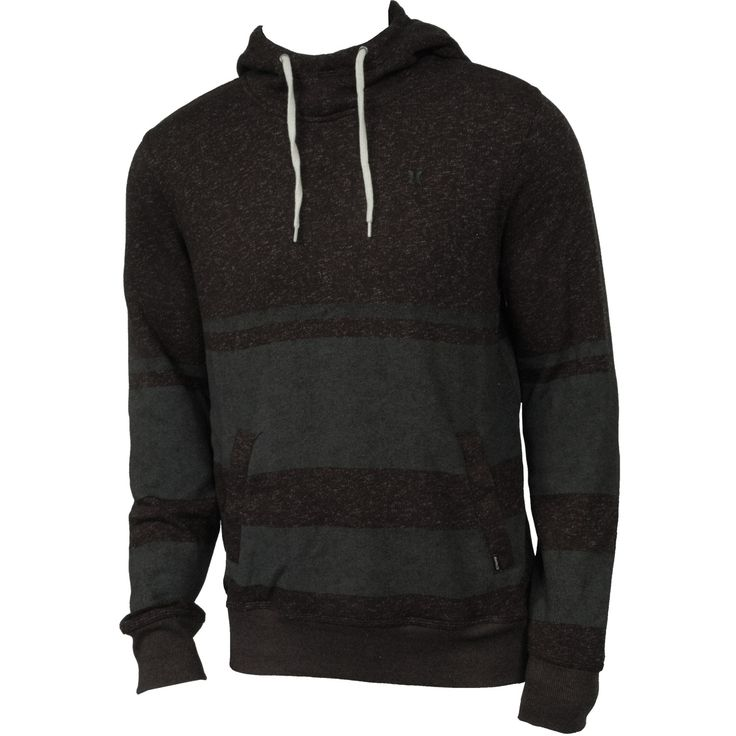 Hurley Mens Sweatshirt Retreat Stripe Pull Heather Black