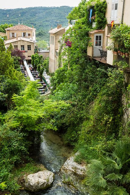 Medieval village of Moustiers-Sainte-Marie in Alpes-de-Haute-Provence, France