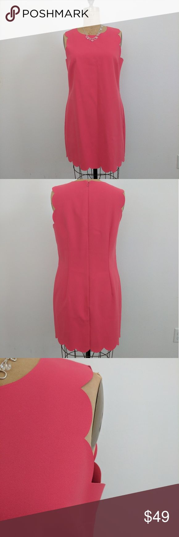 J. Crew pink dress Excellent condition, no wear, no stains. It's like NWOT. Pink ruffle bottom, sleeves pink dress from J.Crew. size 12. Midi length.  62% polyester, 33% viscose, 5% spandex. Beautiful dress for summer! J. Crew Dresses Midi