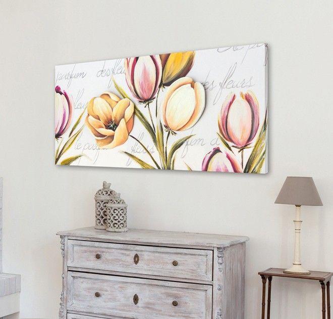 P4434 - FLOWERS PROVENCE di PINTDECOR Cm 150x70  Due elementi centrali in rilievo sagomati e dipinti a mano su materico, su struttura telata.  #quadro #p4434 #flower #provence #pintdecor