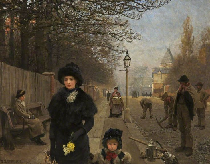 ARTISTIC QUIBBLE George Clausen - Spring Morning, Haverstock Hill (1881)