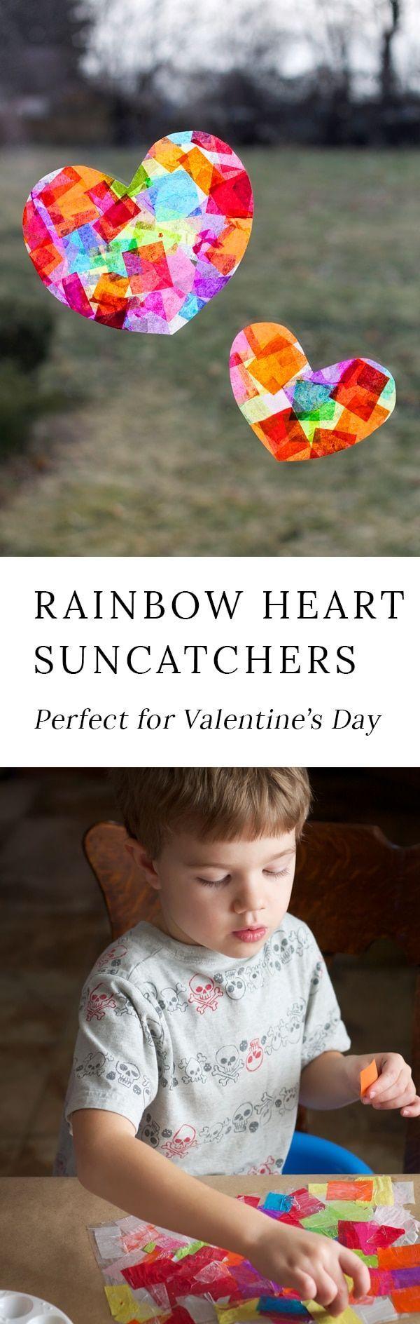 Rainbow Heart Suncatchers Kids Craft Idea