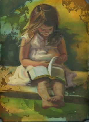 This painting relates to Liesel becuase the girl is reading a book like Liesel would.