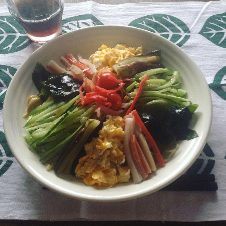夏の味覚冷やし中華 しょうゆ味 A cold Japanese dish with Chinese noodles and various toppings.  KEIKOS WASHOKU - Hiyashi-chuka 2017.7.25  #keikoswashoku #keikomme #foodie #delicious #yummy #foodporn #japanfood #summer #lunch #pranzo  #nostalgia #kawaii #hiyashichuka #昔 #懐かしい #きれい #ケイコ飯 #ヘルシー #夏 #ランチ #昼飯 #昼食 #日本  #料理 #美味しい #FB #pin
