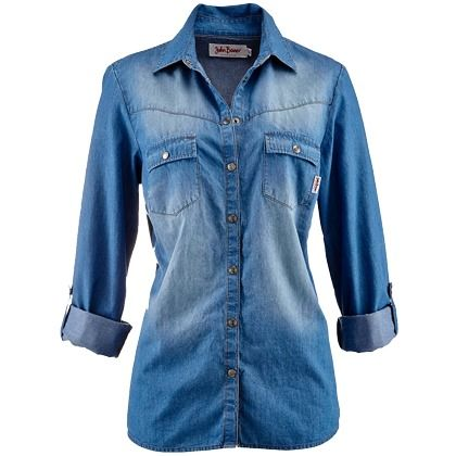 Bluse in Denim - Coole Bluse in Hellblau von John Baner JEANSWEAR. Die Ärmel zum krempeln und mit einem Druckknopf zum fixieren sind ein praktisches und optisch modernes HIghlight des Oberteils! - ab 19,99€