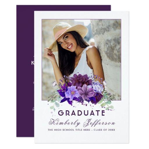 127 best purple graduation invitations images on pinterest plum violet purple floral photo graduation card stopboris Choice Image