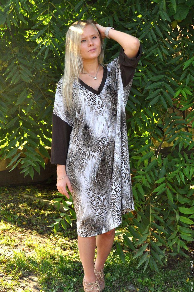 Купить Платье из трикотажа с леопардовым принтом - коричневый, звериная расцветка, леопардовый принт, трикотажное платье