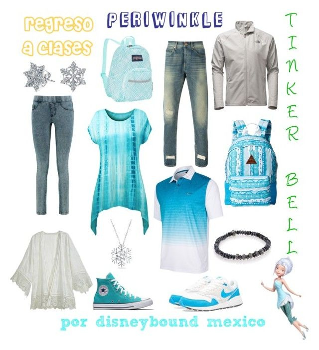 """""""Periwinkle"""" by disneybound-mexico on Polyvore featuring Disney, Bling Jewelry, Calypso St. Barth, JanSport, Off-White, Greg Norman, The North Face, NIKE, Neff and King Baby Studio"""