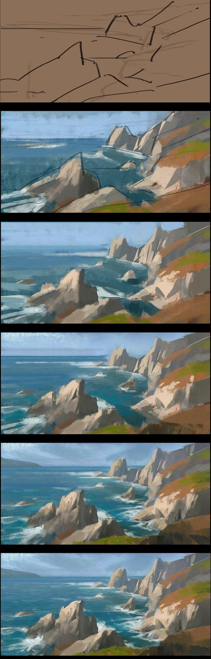 ArtStation - Three landscape Paintings and process share, Dawnpu at Art vision studio