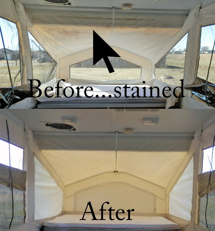 I took this bunk end completely off the camper because it was in such bad shape. 1 part bleach, 1 part vinegar, to 2 parts water. Spray on tenting, let sit for a few minutes, then spray OxiClean. It works miracles on tough stains. Rinse thoroughly with a garden hose.