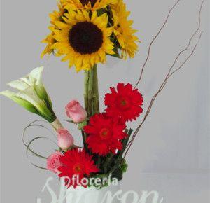 Arreglo de Girasoles y Alcatraz Cítricos | Florerias DF | Arreglos Florales | Flores a domicilio | Floristeria |