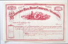 Western Railway of Alabama Preferred Stock Certificate 1870s