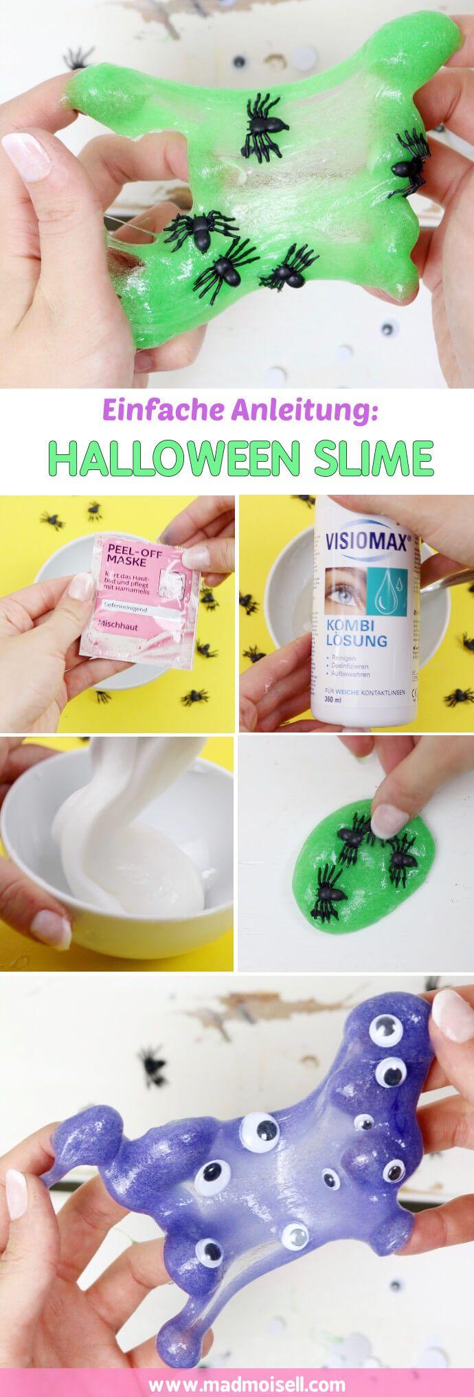 DIY Slime selber machen – 2 einfache Anleitungen für Halloween Für Halloween finde ich Slime aber eine wirklich coole Idee, man könnte damit z.B. den Tisch dekorieren oder die Party-Gäste damit erschrecken. Jetzt, wo ich Slime einmal ausprobiert habe, bin ich wirklich süchtig danach geworden! Ehrlich, probiert Slime unbedingt mal aus, auch wenn ihr vielleicht os skeptisch seid, wie ich.