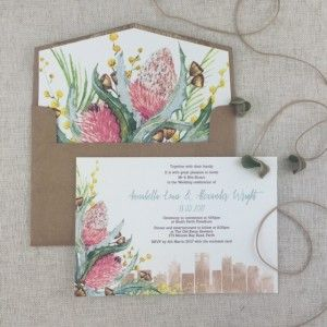Very popular Australian fauna used in this invitaiton, with or without the Perth Skyline it makes a perfect invitiaton for a garden wedding or wedding at the beautfiul Kings Park