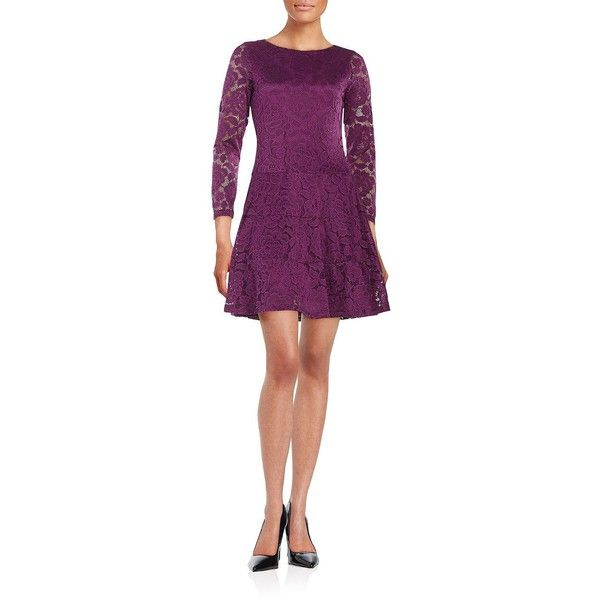 Ivanka Trump Lace Fit-and Flare Dress ($126) ❤ liked on Polyvore featuring dresses, magenta, magenta dress, purple dress, lace fit & flare dress, long sleeve dresses and purple long sleeve dress