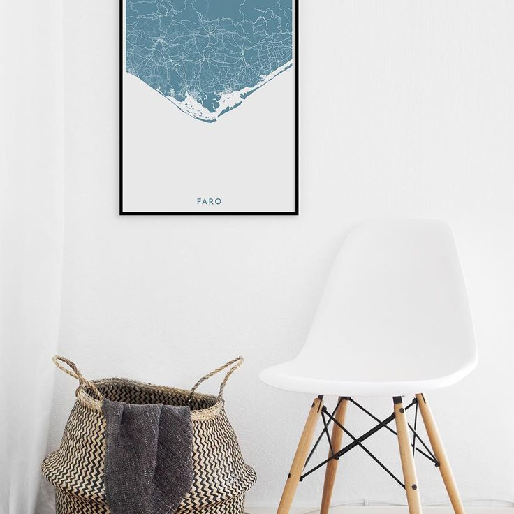 Gorgeous map poster of Faro, Portugal. Sharp / Petrol / 50x70cm.