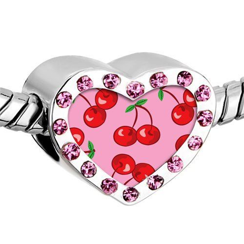 Pugster Pink Swarovski Crystal Gold Plated Cartoon Theme Photo Heart European Bead Cherry Summer Heart Silver Plated Beads Fits Pandora Charm Chamilia Biagi Bracelet Pugster. $16.49. Color: Pink. Metal: Crystal. Size (mm): 12.95*7.4*10.31. Weight (gram): 2.8