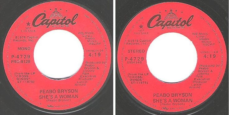 "Bryson, Peabo / She's a Woman (1978) / Capitol P-4729 (Single, 7"" Vinyl) / Promo, $4.00"