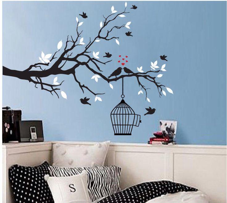 Blue wall tree birds