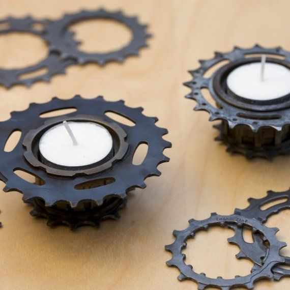 Cool use of bicycle gears!  I'm betting there is other hardware that can be made decorative as well.