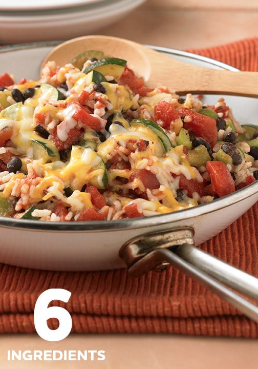 This Zucchini, Black Bean and Rice Skillet is super easy to make with only 6 ingredients.