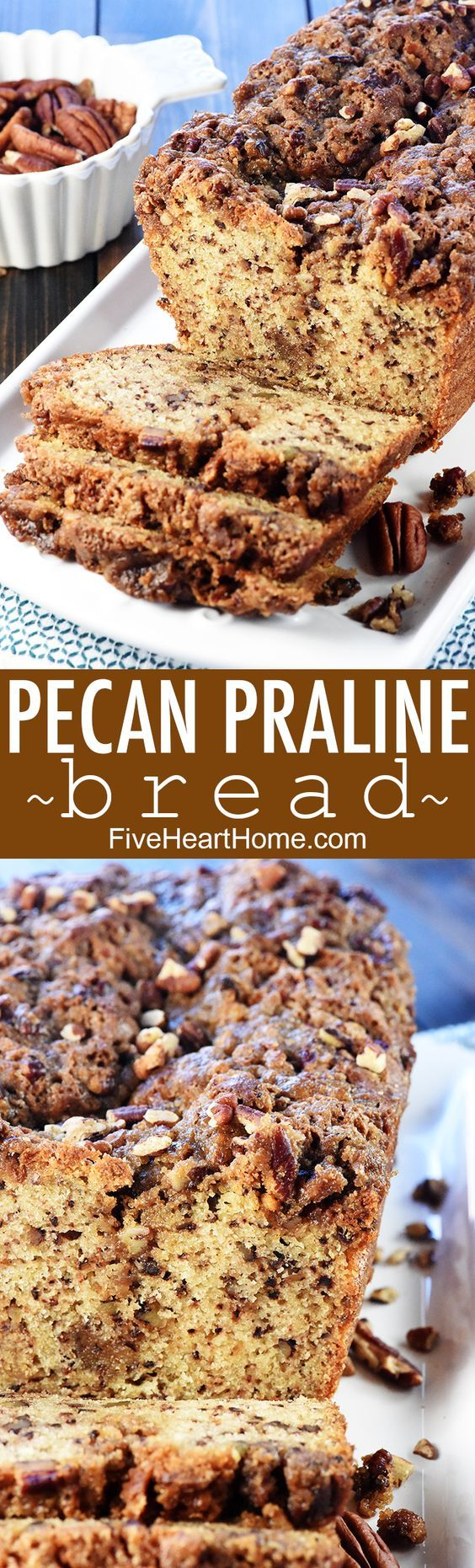 Pecan Praline Bread ~ a delicious quick bread recipe with a tender crumb and a ribbon of brown sugar pecans for added sweetness and crunch! | FiveHeartHome.com #pecans #praline #bread #quickbread #pecanrecipes #recipe #holiday #foodgift #fivehearthome
