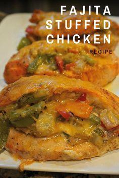Easy Fajita Stuffed Chicken Recipe - Soooo good, healthy and only 230 calories! #food #chicken #recipe