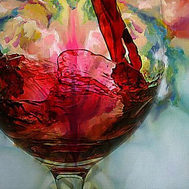 Oil Paintings One Panel Modern Still Life Wine Cup Hand-painted Canvas Ready to Hang - USD $ 58.99