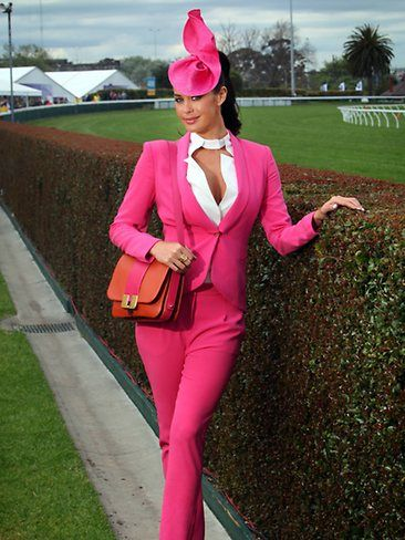 Megan Gale in Fuchsia suit for races