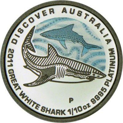 15 Dollar Platin Discover Australia 2011: Großer Weißer Hai - 1/10 Unze Farbe PP