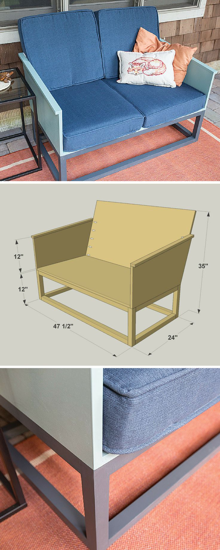 Turn your sunroom or porch into a comfortable place to hang out with this love seat. With indoor/outdoor cushions, it's perfect for a covered porch or patio, or for a three-season porch. Plus, you can build it easily using one sheet of plywood, a few boards, and a set of off-the-shelf cushion. Get the free DIY plans at buildsomething.com