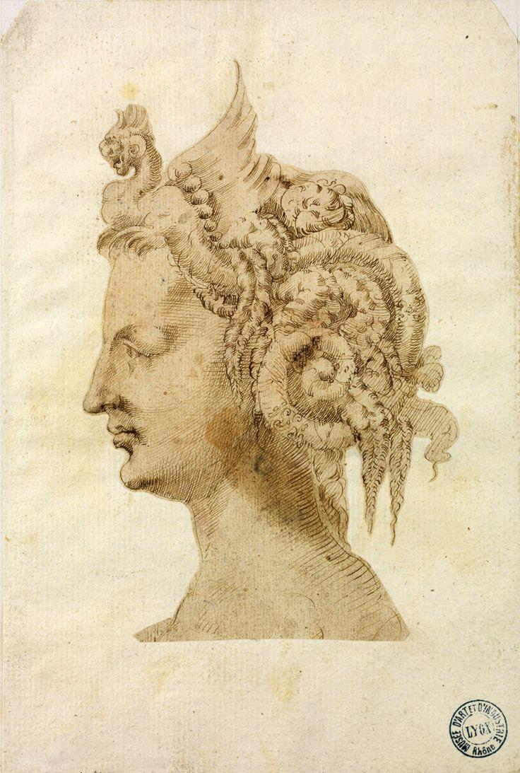 Attribué à Jacopo Ligozzi (Vérone, Vers 1547 - Florence, 1627), Tête de femme vue de profil portant une coiffure fantastique, Italie, vers 1590-1600. HENNEZEL 54/a. Acquis dans la seconde moitié du XIXe siècle, 1851 © Musée des Arts décoratifs de Lyon, Sylvain Pretto