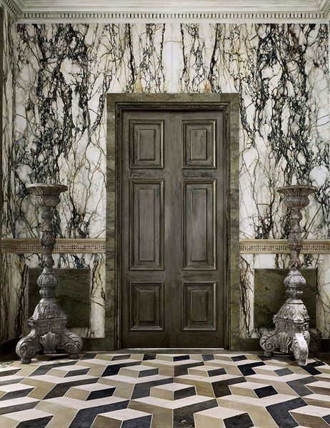 Lapicida's Jones geometric floor tiles are inspired by 18th-century examples: The Doors, Marble Wall, Floors Tile, Rustic Doors, Marbles Wall, Entrance Hall, Geometric Tile, Architecture Digest, Wall Design