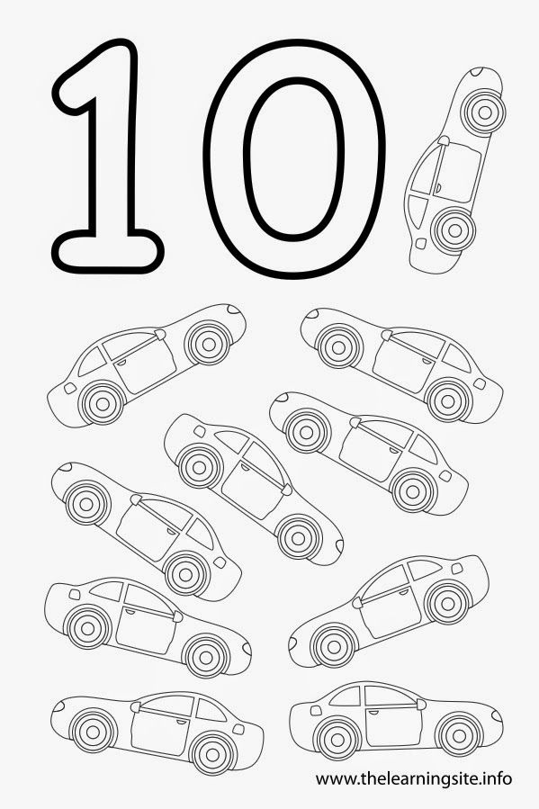 Coloring Page Outline Number Ten Cars 599x