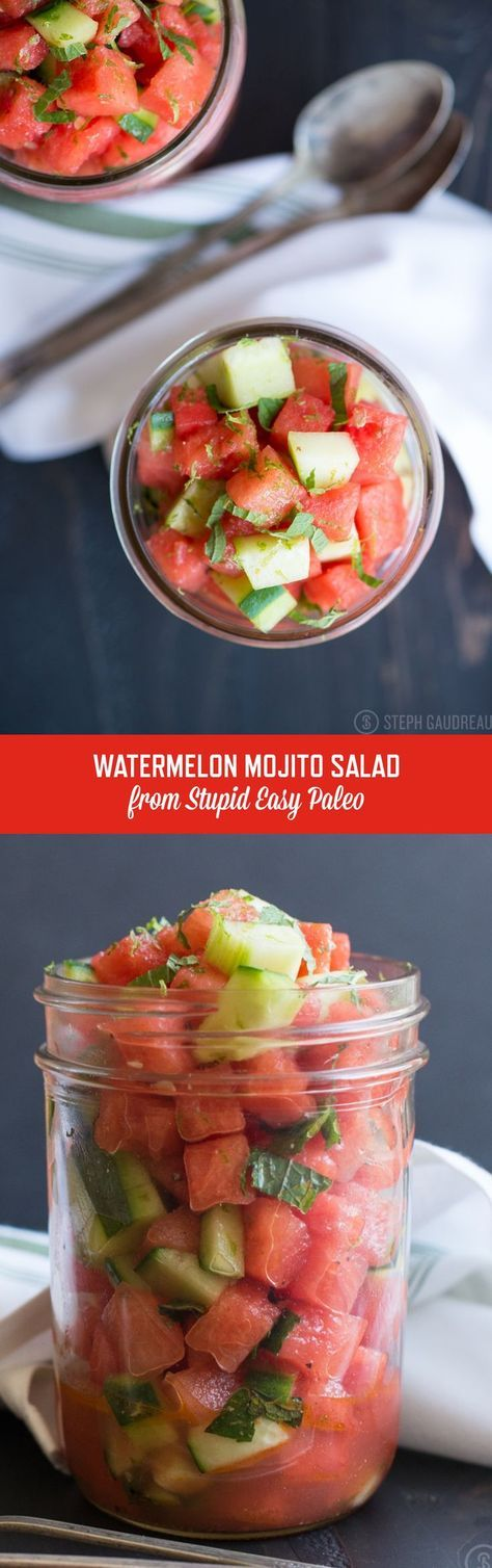 The bright flavors of sweet melon, crisp cucumber, fresh mint and tangy lime will have your taste buds doing a dance! Get the recipe at http://stupideasypaleo.com/2015/06/27/watermelon-mojito-salad/ | http://StupidEasyPaleo.com