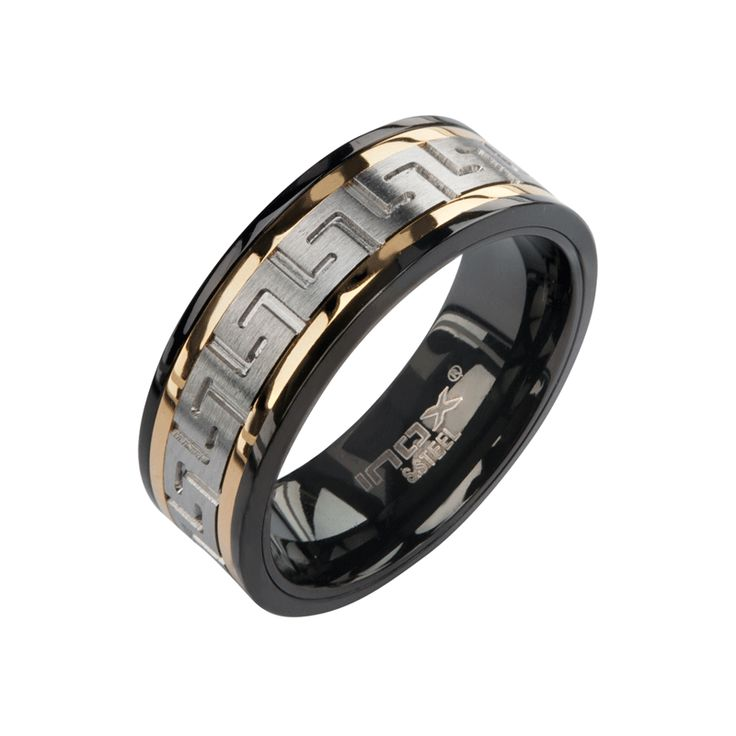 Stainless Steel Band with Black and Gold IP and Greek Key design. http://lily316.com.au/shop/collection/black-gold-and-stainless-steel-greek-key-design-ring/
