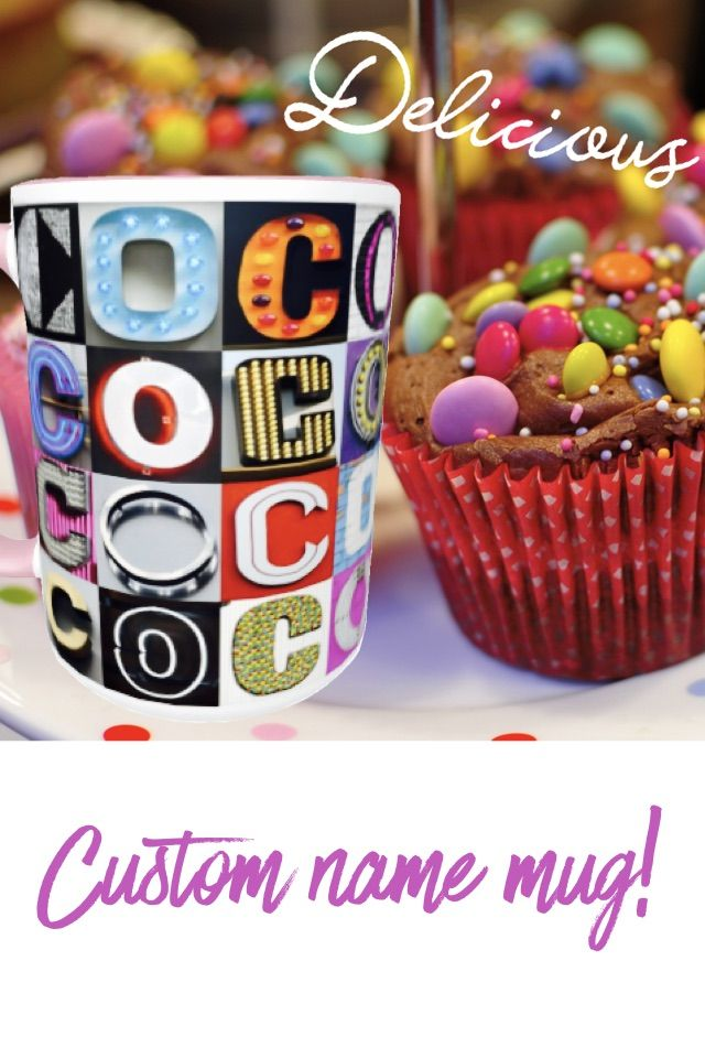 Custom coffee mug featuring the name COCO (or any name) in photos of sign letters! Makes a great gift for your favorite coffee or tea lover, and a great gift for Mom this Mother's Day :-)