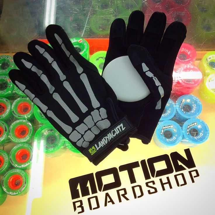 Landyachtz Longboards Bones Slide Gloves are a lot like the rest but have some awesome reflective bones so pedestrians and cars see you at night.