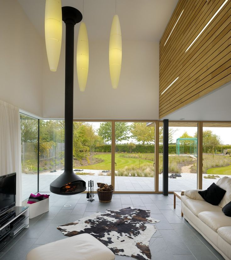 Platform 5 Meadowview Modern House Hanging Fireplace Oblong Pendants Floor To Ceiling Glass