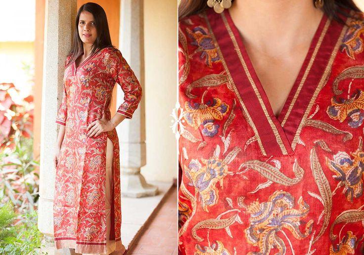 Kurtis for women - Vintage Red Kurta by Suvasa PC 16693 - Main