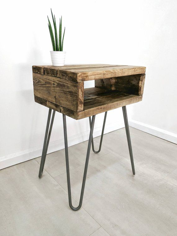 Reclaimed Wood Bedside Table Noa Retro Night Table Boho Plant Stand Chunky Side Table With Hairpin Legs Rustic Jungalow Style