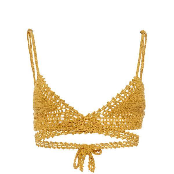 She Made Me Cotton Crochet Wrap Triangle Bikini Top ($120) ❤ liked on Polyvore featuring swimwear, bikinis, bikini tops, tops, shirts, swimsuits, yellow, strappy swimsuit, swimsuits two piece and crochet bikini top