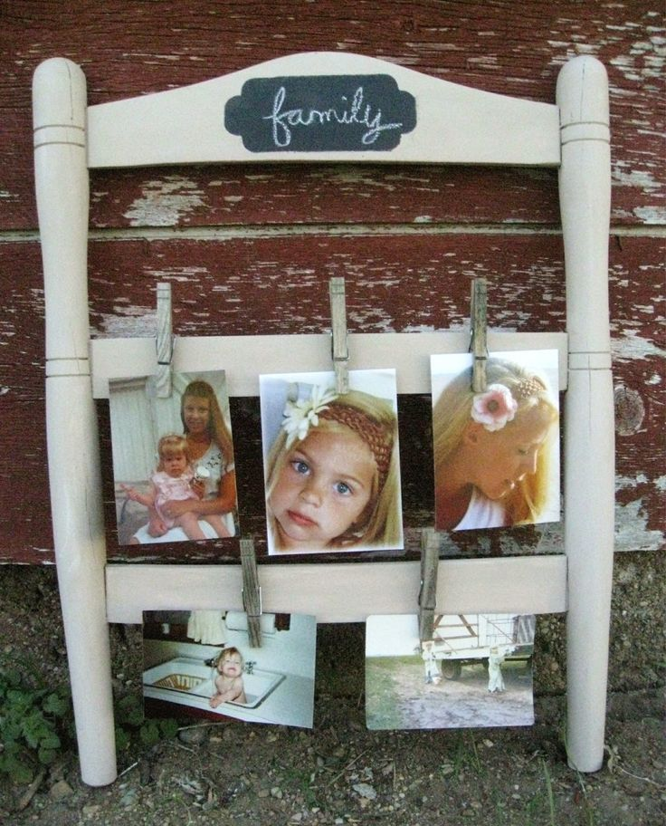 Kammy's Korner: Repurposed Chair Back As Changeable  Photo Display