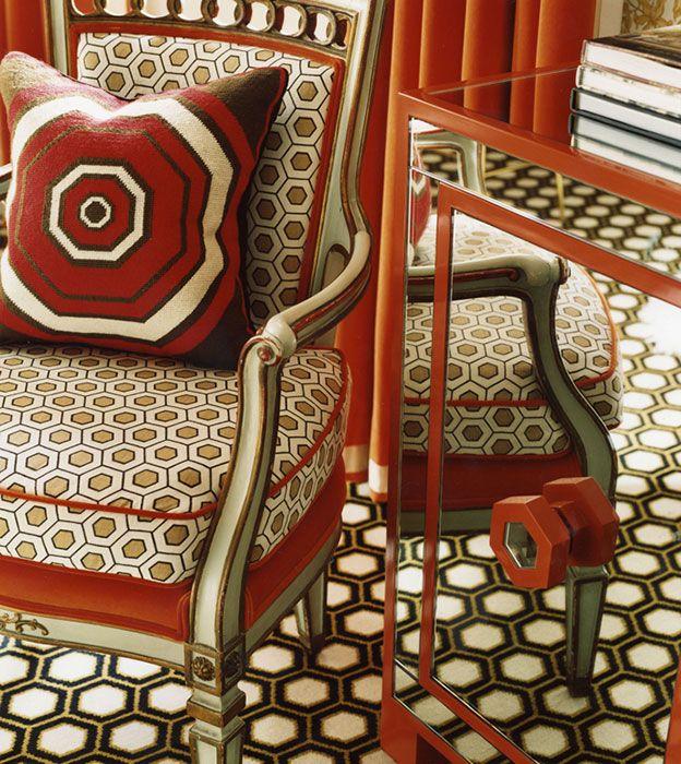 Geometric on geometric: Interior Design, Bold Patterns, Colors Patterns, Inspiration, Chairs, Interiors Design, Floors Cushions, David Hicks, Jonathan Adler