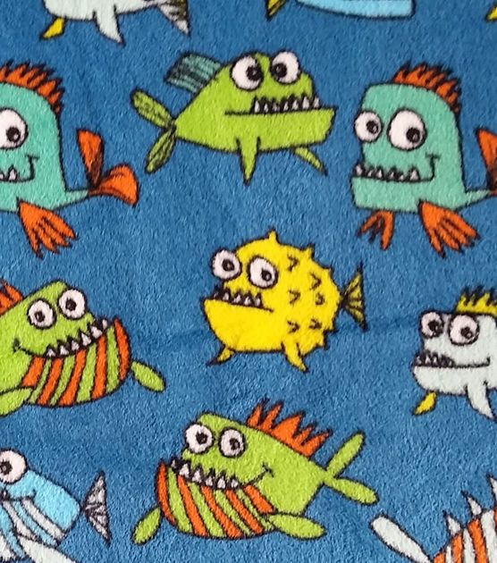 Ultra Fluffy Fabric - Scary Fish