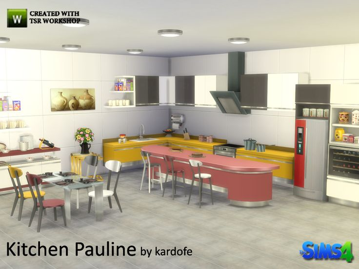 Kitchen, metal and melamine high gloss, in four different color options, composed of counter, island, kitchen with oven, sink, stools, tall furniture, which are wall sculptures, a cabinet to cover...