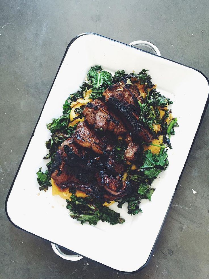 jessica cox | garlic, lemon & maple lamb w soft polenta + wilted