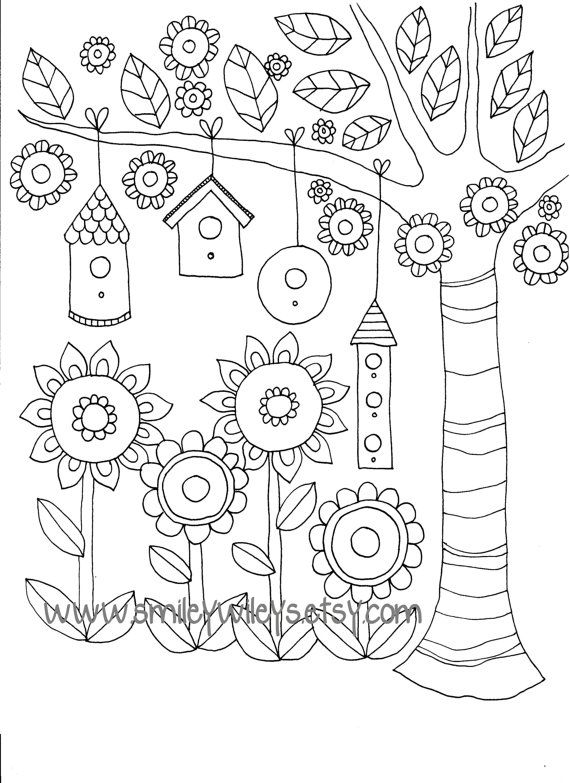 Happy Garden Printable Colouring Book Pages Set of 5 different pages